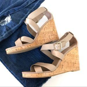 Cole haan jillian cork wedge leather sandals
